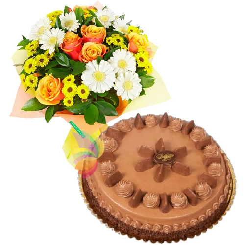 Bouquet solare e torta gianduiotto