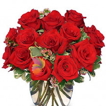 immagine Bouquet di rose rosse e felce