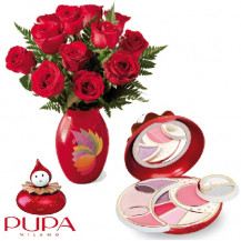 immagine Rose rosse e Pierrot Bordeaux